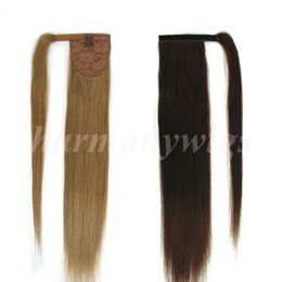 Top quality 100% Human Hair ponytail 20 22inch 100g #18 Dark Ash Blonde Double Drawn Brazilian Malaysian Indian hair extensions More colors