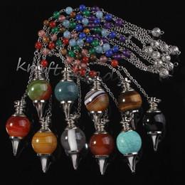 Wholesale Natual Silver Stone Beads Chain Mixed Quartz Agate Stone Chakra Healing Point Dowsing Pendulum Pendant Jewelry