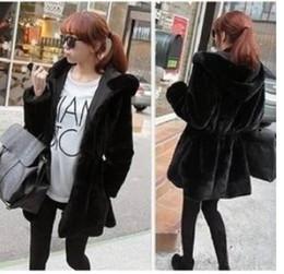 2014 Autumn Winter Fashion Women Faux Fur Long Coat Reversible Black Hooded Fleece Coat Jacket