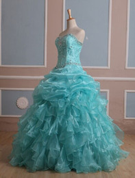 2015 Brand New Stock Ball Gown Organza With Beads Quinceanera Dresses Dresses Vestidos De 15 Anos Party Gowns Stock Size:2-16