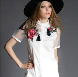 2015 Summer Europe new fashion Women Floral Embroidery Cotton White long blouse shirt, plus size maxi tops