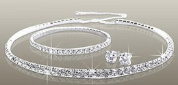 Fashion Jewelry Silver Tone Wedding Diamante Jewelry Sets Clear Rhinestone Crystal Choker Bridal Necklace Earrings & Bracelet