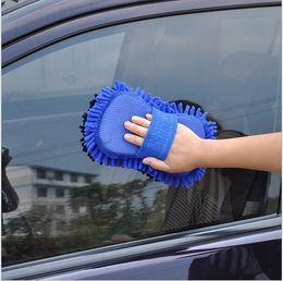 Wholesale Hot New Ultrafine Fiber Chenille Anthozoan Car Wash Cloth Cleaning Gloves Sponge Car Washer dark blue