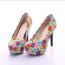 Colorful Lace Flowers Pumps Spring Platform High Thin Heel Stage Show Party Wedding Bridal Pumps Women Shoes