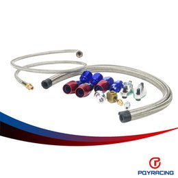 Wholesale PQY RACING T3 T4 T3 T4 T70 T66 TO4E Turbo Oil Feed Line Oil Return Line Oil Drain Line Kit blue and red PQYTOL21