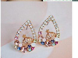 Wholesale Fashion crystal earring jewelry for women Colorful Crystal Crown Womans Earrings For Women