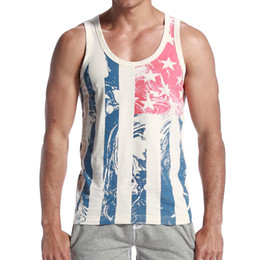 On Sale Sexy Men Tank Top American Flag Slim Vest vintage Vertical Stripe Fitness Sports Vest Tank Tops