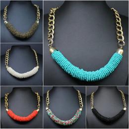 Promotion colliers de perles Vente en gros-Hot vente mode perles artisanales multicolore m cylindre manuel Bohème collier de style collier