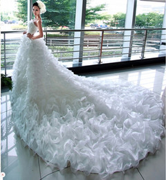 New White ivory Organza Wedding Dress With Ruffles 2016 Bridal Dress With 1.5 M Chapel Train