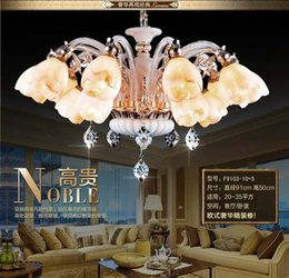 Wholesale Zinc alloy jade crystal chandelier European style living room villa hotel chandelier artificial marble hanging lamp