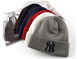 Wholesale Winter Warm Knitted Hat NY Letters Embroidered Beanie For Unisex Fashion Outdoor Caps Like Skiing Etc