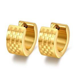 fashion 18K gold filled hoop earrings stainless steel punk biker men jewelry wholesale
