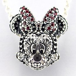 Wholesale 2015 New Winter Christmas Sterling Silver Sparkling Minnie Charm Bead with Cz Fits European Pandora Jewelry Bracelets Necklace