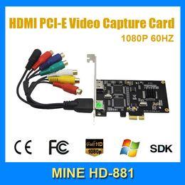 S audio vidéo hdmi à vendre-MINE HD881 de bonne qualité Carte de capture HDMI Prise en charge PCIe xbox360 PS3 PS4 HDMI YPbPr, S-Vidéo, AV CVBS Carte vidéo L / R Audio Capture