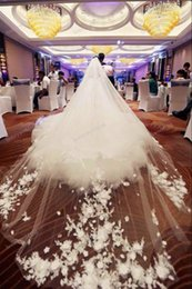 Luxury Appliques Cathedral Lace Tulle Wedding Veils Handmade Flowers Exquisite White   ivory Tulle Bridal Veil 5m * 3m