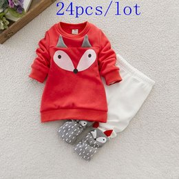 Wholesale 24pcs Hot sale Baby boys girls cotton mirco velvet cartoon outfits long sleeve caot fox printed Children outfits high quality
