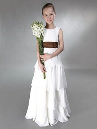 Princess A-line Jewel Tiers Floor-length With Sash Chiffon Junior Bridesmaid Dress For Wedding Party
