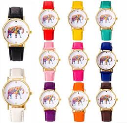 50pcs lot 2015 women elephant design flower printing ladies leather PU wrist watch fashion dress quartz watches
