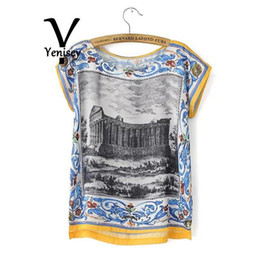 Wholesale 2015 Time limited Hot Sale Batwing Sleeve Crop Top Tshirt Sy32 Europe Wind Tee Bat T shirt Architectural Pattern Ladies FG1511