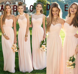 2016 Pink Navy Cheap Long Bridesmaid Dresses Mixed Neckline Flow Chiffon Summer Blush Bridesmaid Formal Prom Party Dresses with Ruffles