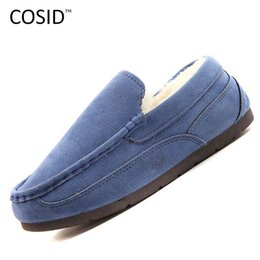 Wholesale Shoes Soft Inside - Wholesale-New 2015 winter Suede leather women loafers Shoes fur inside warm Gommini women shoes soft Womens Flats Women Flat Shoes BSN-051