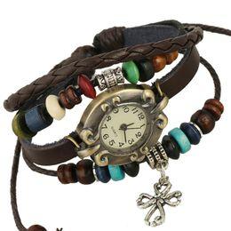 Wholesale Fashion Punk leather wristwatch women bracelet watch personality vine Casual Alloy hollow cross handmade beaded relogio