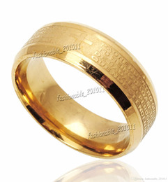 Wholesale Stainless Steel Etched Spanish Lord s Prayer Cross Wedding Gold Band Ring Size New