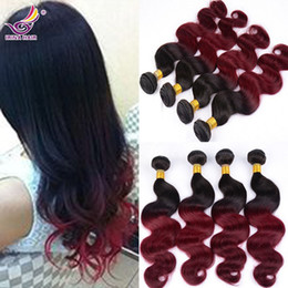 Charming Two Tone Color 1B Red Burgundy Brazilian Hair Extension Body Wave 7A Ombre Red Brazilian Vigin Hair 3pcs 100 Unprocessed Human Hair