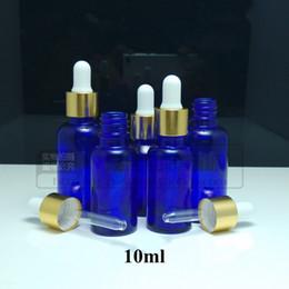 Bouteilles bleu cobalt gros à vendre-120pcs / lot gros verre 10ml flacon compte-gouttes 1/3 once Essential bouteille d'huile par Dropper Cobalt Blue Bottle