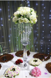 Acrylic Beaded Table Top Chandelier Centerpieces Flower Holder Wedding Party Decorations