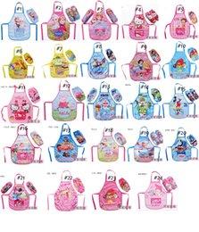 Wholesale 24 styles mickey minnie Sofia spiderma frozen elsa princess KT Dora Kids Childrens Cartoon Cooking Art Painting Smock Apron Oversleeve