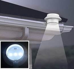 Wholesale 3 LED Solar Light Powered Fence Gutter Outdoor Garden Yard Wall Pathway Lamp Light White Bracket