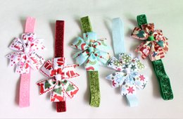 New Christmas Hair Bow Headband for Baby Girl Hair Accessories Bow Headband Toddler Hairbands 20pcs lot Free Shipping