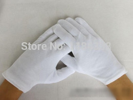 Wholesale pairs Thick White Cotton Gloves Serving Waiters Gloves Concierge Butler Snooker Equestrian Gloves