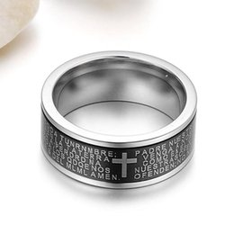 Wholesale Mens mm Titanium Stainless Steel Vintage Black Ring Spanish Bible Lords Prayer High Polish Cross Band