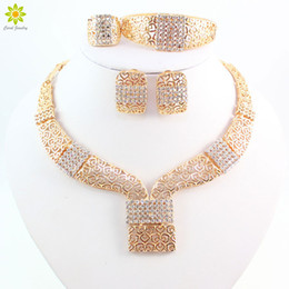 Jewelry Sets gold plated African Beads Collar Statement Necklace Earrings Bracelet Fine For Women Crystal Party Accessories