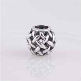 Wholesale Openwork basketweave Charm Sterling silver Fits European brand Bracelets DIY Making Memnon Jewelry LW290