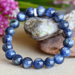 Discount Wholesale Natural Blue Kyanite Crystal Men's Stretch Finish Bracelet Round Beads 10mm 03826