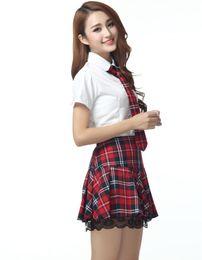 Wholesale Sexy Tie Uniforms - 2015 3pcs set Sexy tie short-sleeved plaid school stundent uniforms skirts dress miniskirt women Lace Clothing cosplay costume 190020