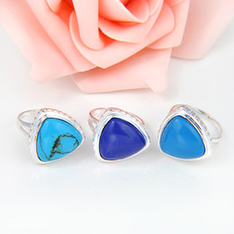 Wholesale supply Triangle Blue Turquoise Ring Sterling Silver Jewelry CR0168