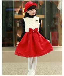 Children Dress 2015 Spring Model Wool Woolen Cloth Han Edition Princess Skirt Add Wool 5-11Age 120-130-140-150 Size Z34