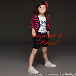 Wholesale Pettigirl Retail Girls Suits Coat T shirt And Black Shorts For Kids Clothes Casual Soft Sets Children Wear Drop Shopping CS41207