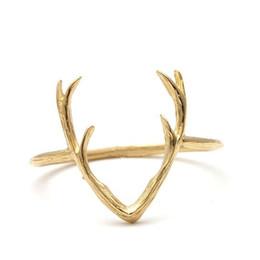 Wholesale 10pcs hot sale Simple Deer Antler ring stag ring reindeer horn ring animal ring for Women JZ136
