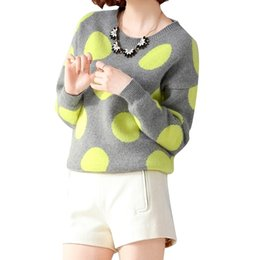 2016 New Autumn Womens Sweater Loose Batwing sleeve Dot Printed Winter Cashmere Sweater Knitted Women Sweaters and Pullovers