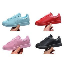Wholesale lovers shoes fashion RAF SIMONS STAN SMITH CLEAR SKY WHITE pink black causal sneaker women and men sports shoes size