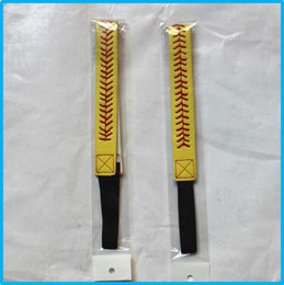 Wholesale new Softball Headbands Yellow Leather with Red Stitching Seam Fastpitch Stretch Elastic Sport and Fashion Headband