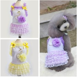 Fashion Princess Pet Dresses With Swan Lace Yellow Purple Color Bowknot Dog Coat Brand New Good Quality For Spring Automn Min Order 50PCS
