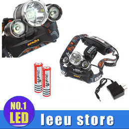 Wholesale 5000LM JR X CREE XML T6 LED Bulbs LED Headlamp Headlight With Flash Modes And Adjustable Base Head lamps EU US charger battery