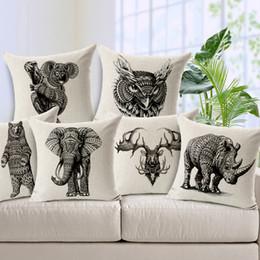 6 Styles Wild Animal Linen Cotton Case Vintage Black Printed Throw Pillowcase for Office Bedding Home Sofa Car Seat Decor