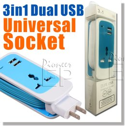 Wholesale DUAL USB Universal Socket in Dual USB Universal Socket Mini Travel Charger Home Charger Surge Protector AMP Watt Colors